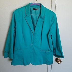 Turquoise cotton single button blazer